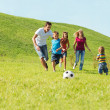 Active happy family  — Stock Photo