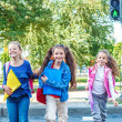 Students crossing the road — Stock Photo