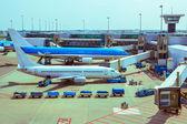 Aircrafts ground handling — Stock Photo