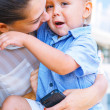 Mother embracing her little son — Stock Photo