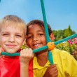 Cheerful boys at the playground — Stock Photo