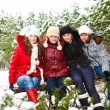 Teenage girls in a winter park — Stock Photo