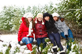 Teenage girls in a winter park — Foto Stock