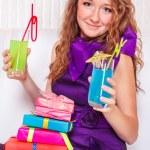 Teenage girl with drinks — Stock Photo