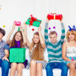 High school students hold present boxes — Stock Photo #35907469