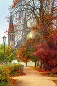 Autumnal church of St. Peter and Paul in Prague — Stock Photo