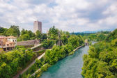 Visconti castle  and Adda river in Trezzo sull'Adda — Stock Photo