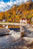 Vltava rzeka w cesky krumlov — Zdjęcie stockowe