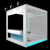 White booth with counter — Stock Photo