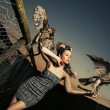 Elegance lady holding eagles - Foto de Stock