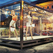 Стоковое фото: Two pretty good looking woman in exhibition window