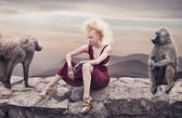 Blond beauty posing with monkeys — Stok fotoğraf