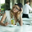 Stock Photo: Cute womin cafe