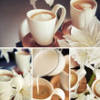 Coffee cups with flowers — Stock Photo