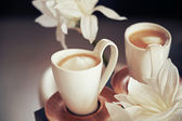 Porcelain cups with coffee — Stock Photo
