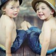 Two little boys sitting — Stock Photo