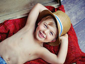 Happy little boy with hat — Stock Photo