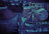 Woman on the roof of the city — Stock Photo