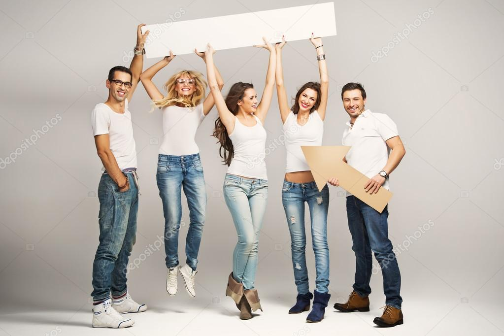 Fine picture of happy young friends  — Stock Photo #15689661