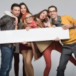 Group of friends want to advertise — Stock Photo