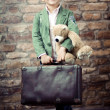 Stylish boy with suitcase — Stock Photo #17821991