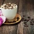Delicious coffee with chocolate - Stock Photo
