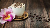 Delicious coffee with chocolate — Stock Photo