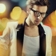 Sam man wearing fashionable glasses - Stock Photo