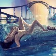 Artistic photo of a young woman drifting after the flood — Stock Photo