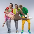 Zdjęcie stockowe: Hip-hop teenagers making funny poses