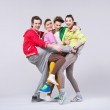 Two couples in funny position — Stock Photo