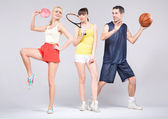 Teenagers practicing some sports during spring — Foto Stock