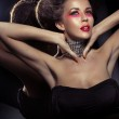 Постер, плакат: Fancy haircut of attractive brunette woman with necklase