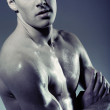 Muscular young man without T-shirt — Stock Photo