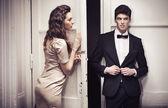 Foto de mujer maravillosa con su hombre guapo — Foto de Stock