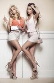 Bedårande flickvänner poserar mot väggen — Stockfoto