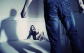 Man and woman expressing domestic violence — Stock Photo