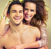 Komik duruma çift ile bağlı — Stok fotoğraf