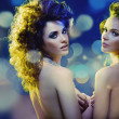 Nude sexy ladies with amazing haircut — Stock Photo