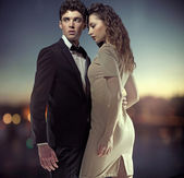 Foto fantástica do elegante casal grande — Foto Stock
