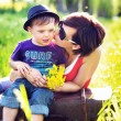 Portrait of a pretty mother and cute son — Stock Photo