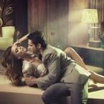 Stylish man touching fabulous girl — Stock Photo
