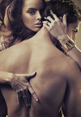 Sensual woman hugging handsome man — ストック写真