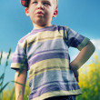 Stock Photo: Curious little boy on the meadow