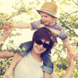 Portrait of mother playin with her son — Stock Photo