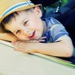 Cute boy bored in the car — Stock Photo