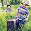 Two litle brothers starting the journey — Stock Photo