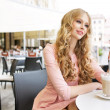 Stock Photo: Absolute pretty woman during coffee break