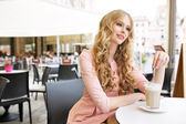 Absolute pretty woman during coffee break — Stock Photo