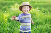 Portrait of a cute small boy playing on the meadow — Stock Photo